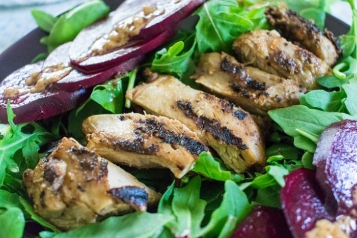 sliced grilled chicken, arugula, pickled beets, and sesame dressing