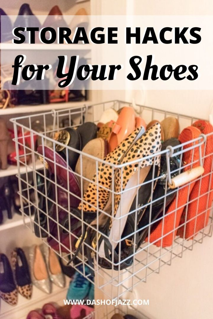 "hanging shoe basket with text overlay ""storage hacks for your shoes"""