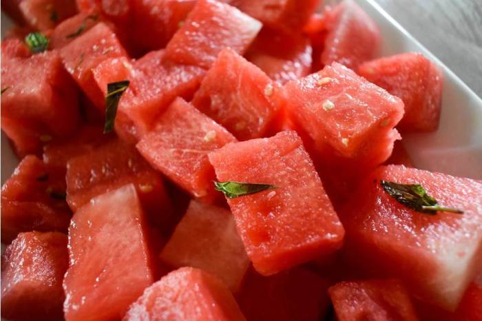 close up of margarita-infused watermelon