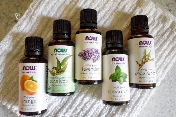 NOW essential orange, eucalyptus, lavender, spearmint, and cedarwood oils
