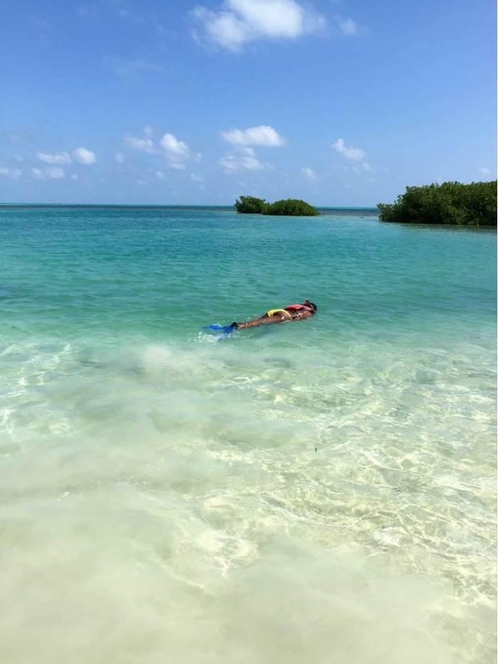 Dash of Jazz practice snorkeling in shallow water
