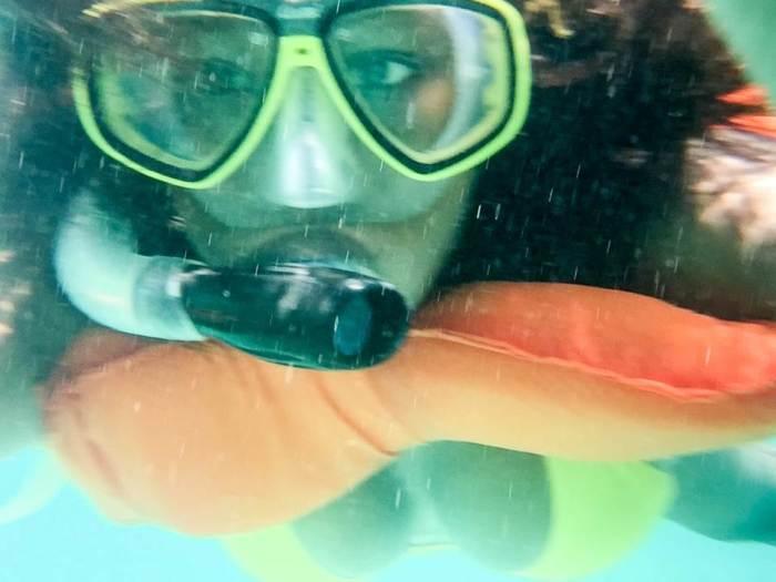 snorkeling selfie in Belize