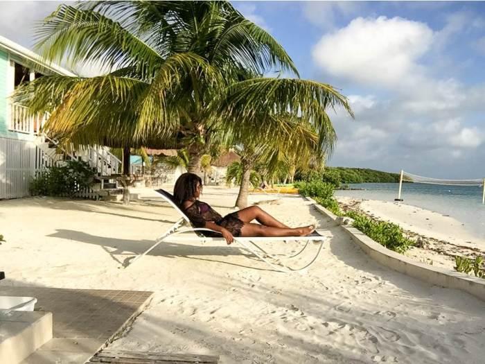 Dash of Jazz lounging on Royal Palm Island resort beach