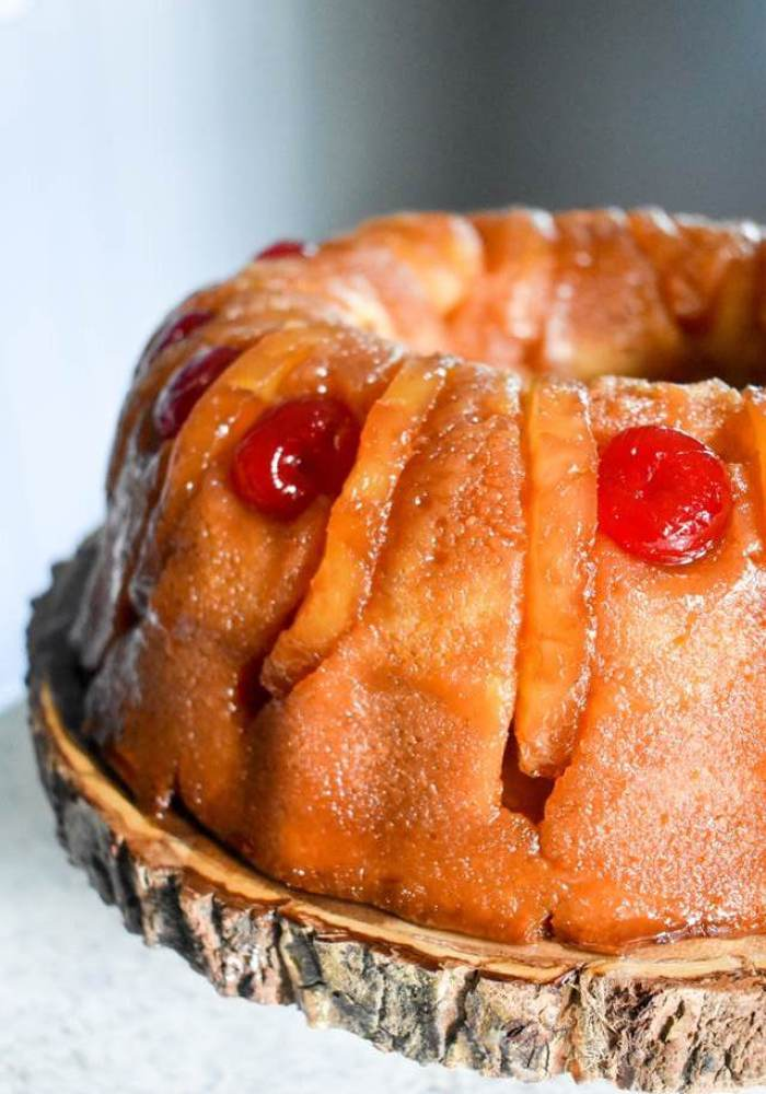 close up of spiked pineapple upside-down rum cake.
