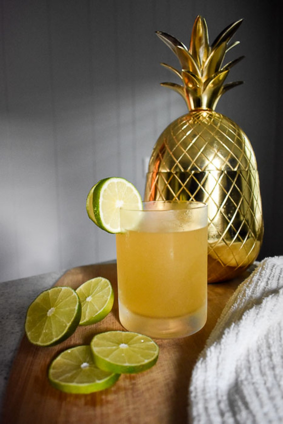 The kind-of dark and stormy is an easy twist on the classic Caribbean cocktail made with dark rum, ginger beer, and key lime and pineapple juices. Recipe by Dash of Jazz