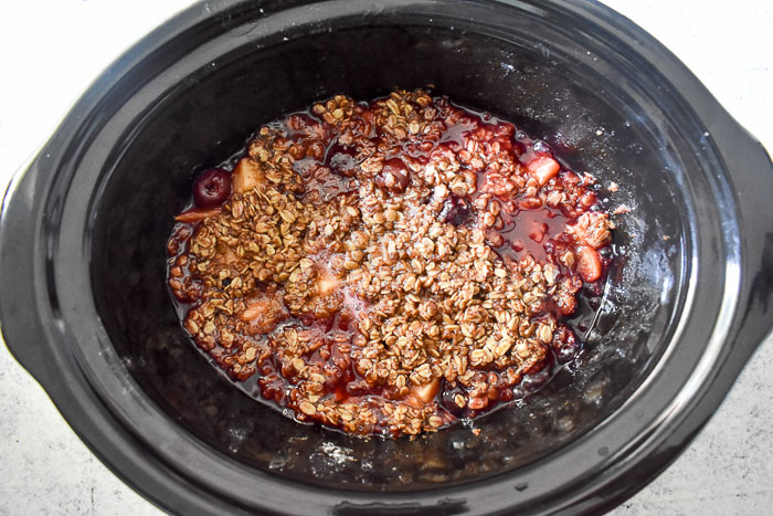 Make this set-it-and-forget-it dessert easily in your slow cooker or crock pot with cherries, apples, and a few other ingredients. Slow Cooker Cherry Apple Crisp by Dash of Jazz
