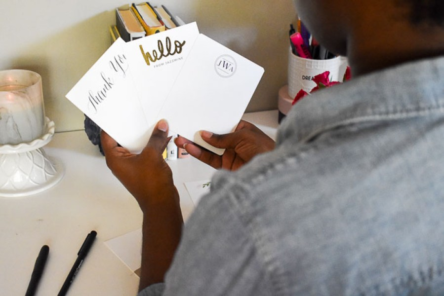 Stay on top of your grownup correspondence and brighten your loved ones' mailboxes with simple stationery for the modern girl from Basic Invite. by Dash of Jazz