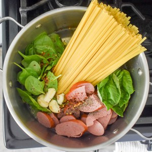Spicy One-Pot Sausage & Spinach Pasta (with Video)