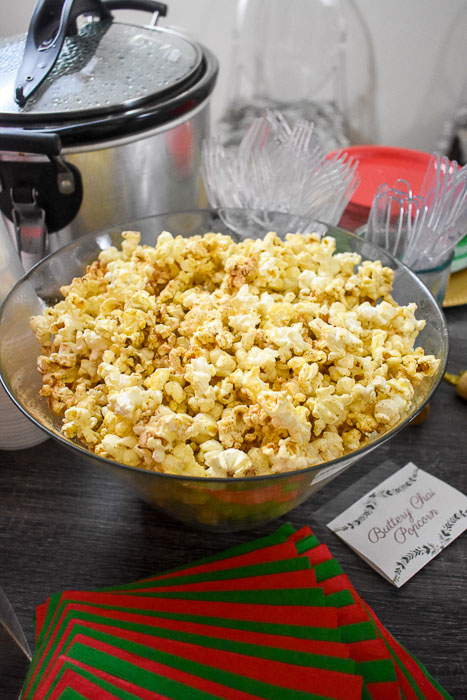 bowl of buttery chai popcorn