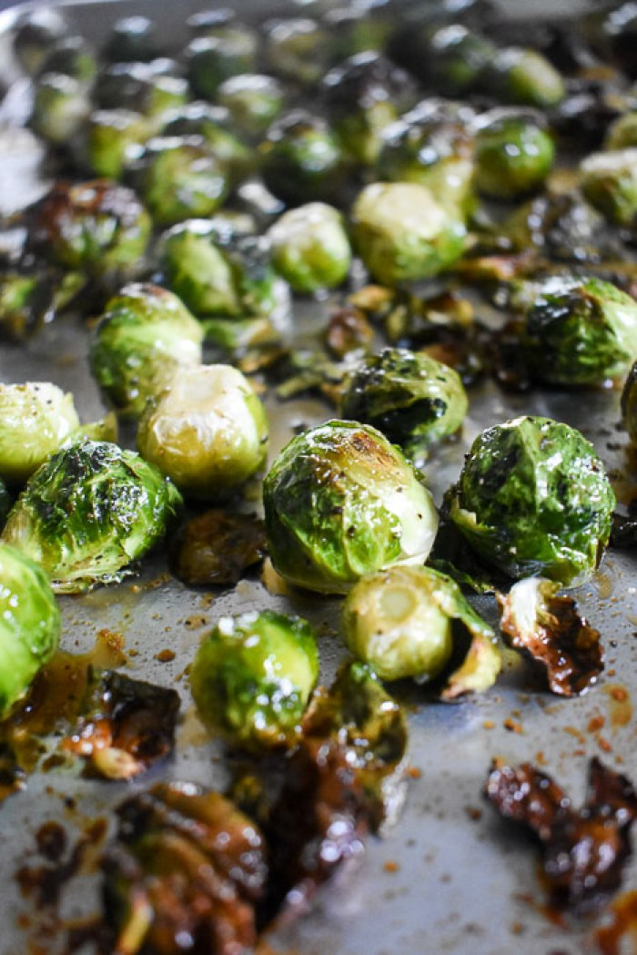 roasted crispy maple brussels sprouts