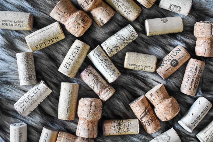 wine corks on gray fur
