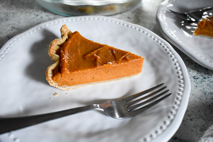 slice of homemade sweet potato pie