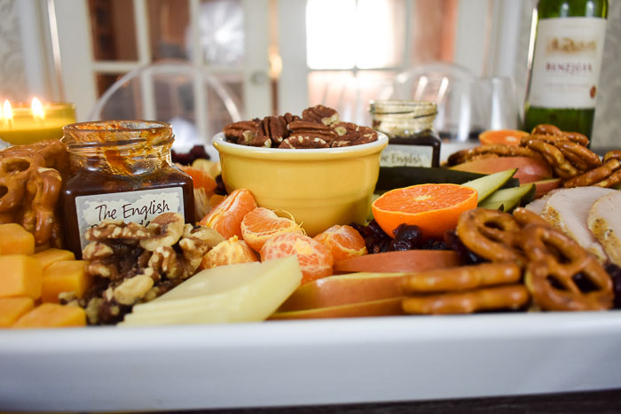 side view of festive thanksgiving appetizer board