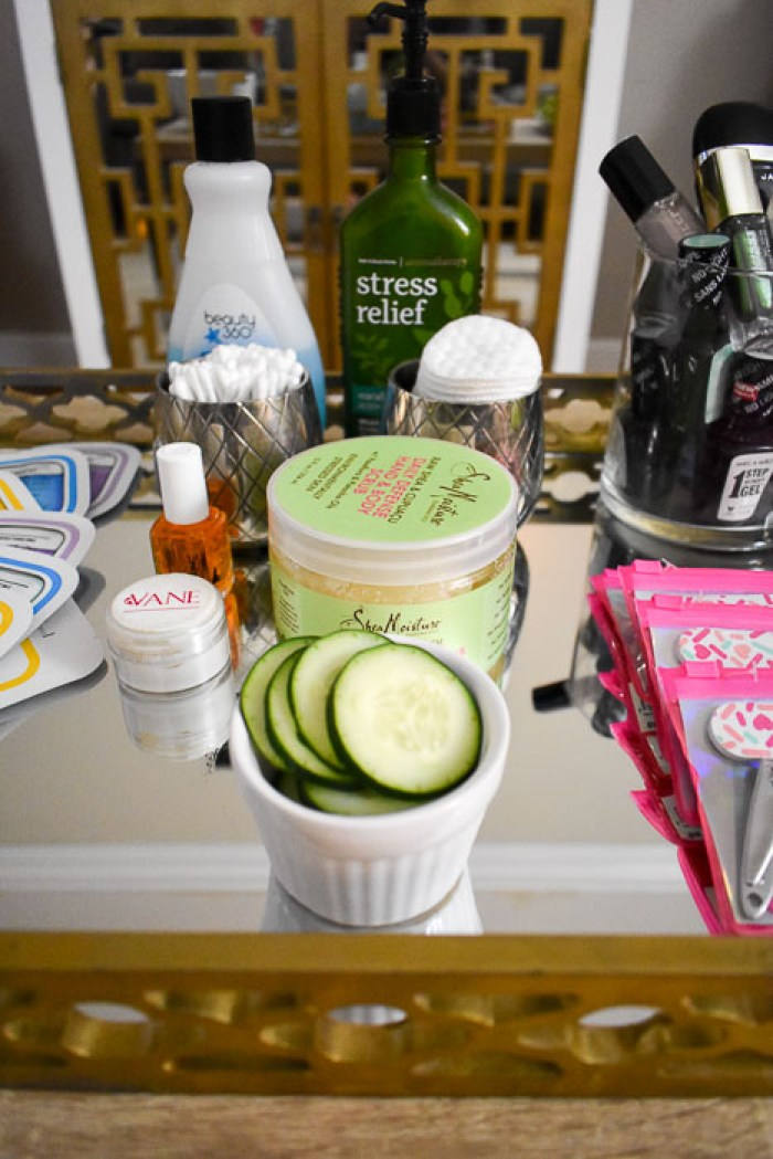 scrubs, cotton swabs, cucumber slices, and other tools for at-home spa party