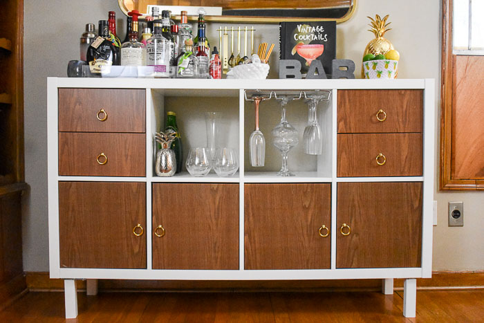 IKEA Kallax Home Bar Hacks (How I Made a DIY Home Bar Cabinet)