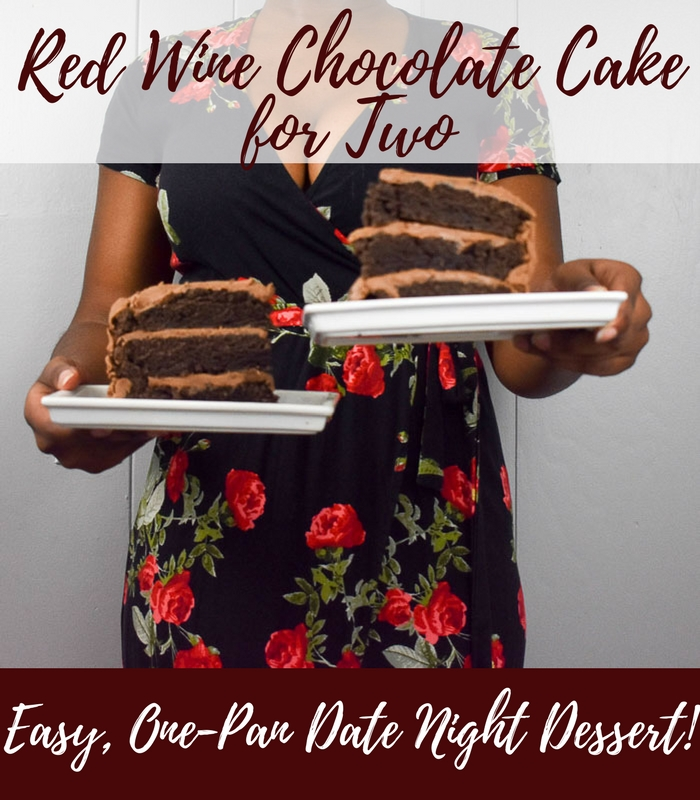This easy recipe to make red wine chocolate cake for two in one pan works perfectly for date night or any time you don't need a whole cake! by Dash of Jazz