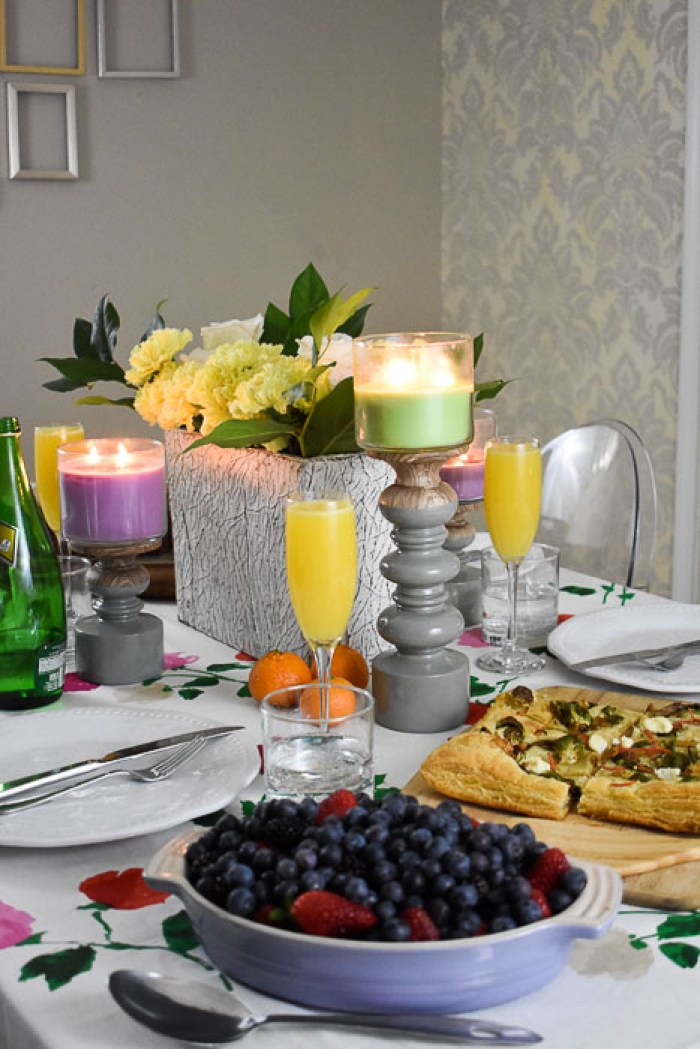 colorful spring brunch tablescape