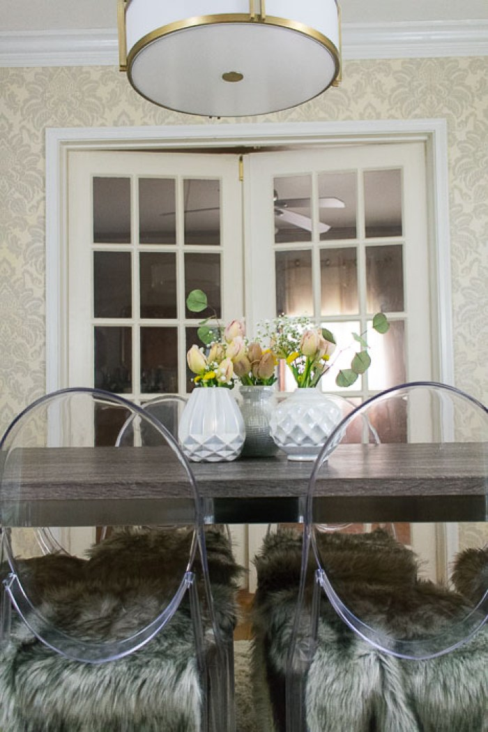 flower arrangements on dining table