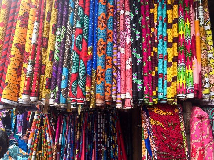 display of ankara fabric for sale at Balogun Market, Lagos, Nigeria