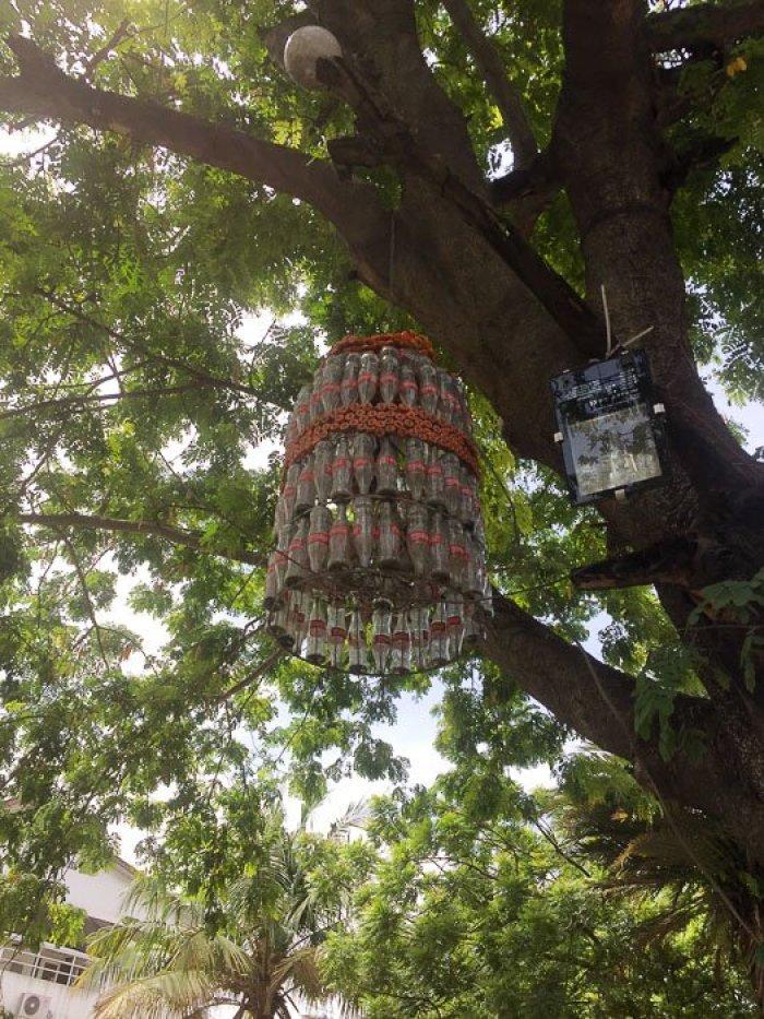 Coke bottle chandelier at Freedom Park in Lagos, Nigeria