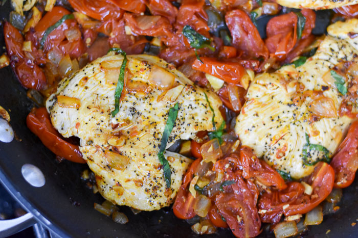 Dash of Jazz's easy weeknight tomato basil chicken dinner
