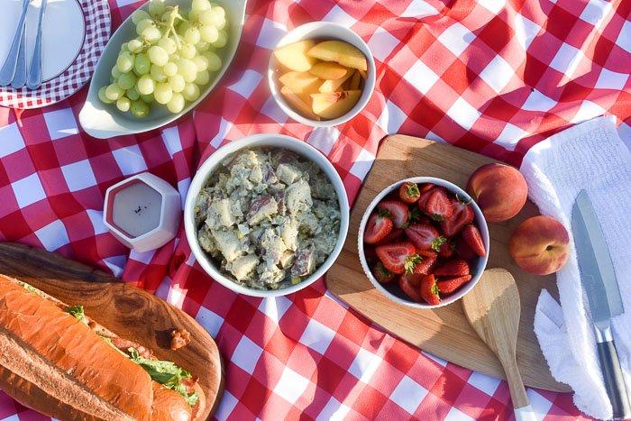 picnic party food spread