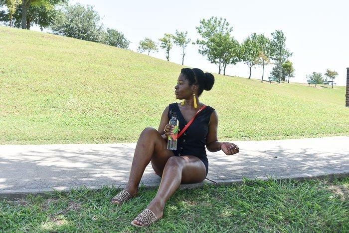 Dash of Jazz holding water bottle