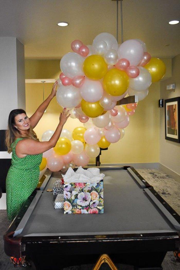 balloon garland at bridal shower