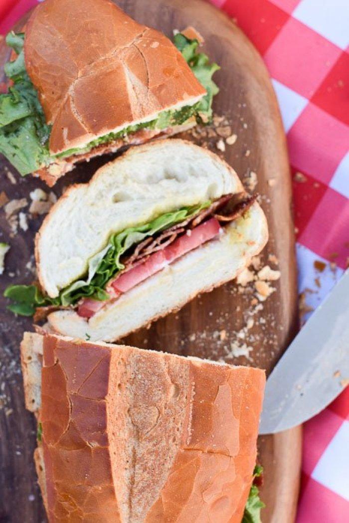sliced shareable BLT sub sandwich.