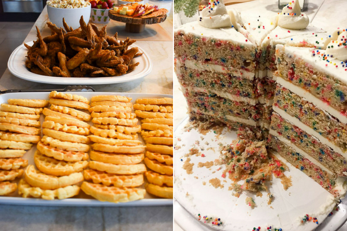 birthday cake and chicken and waffles spread