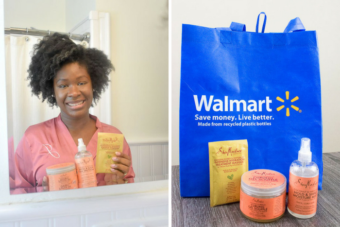 Dash of Jazz holding shea moisture haircare products available at Walmart