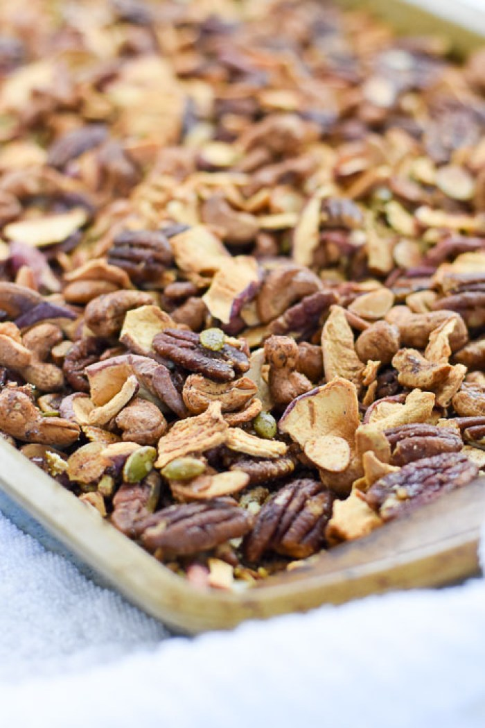pan of baked apple cinnamon grain-free granola