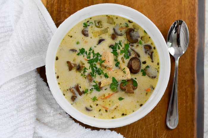 bowl of chicken & mushroom soup