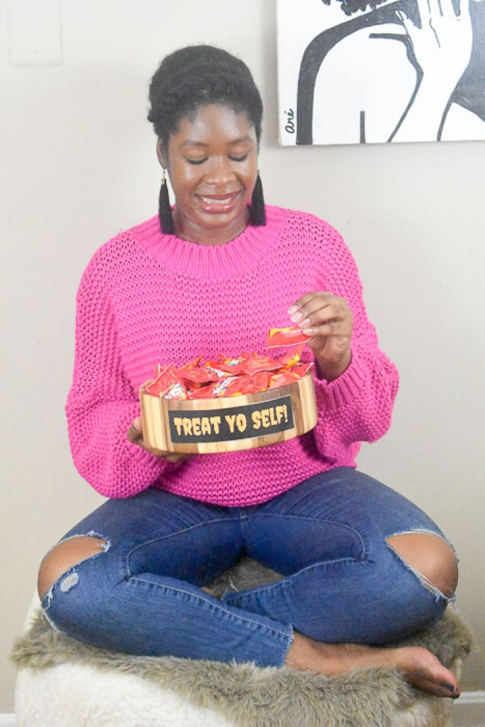 Dash of Jazz holding treat yo self candy bowl