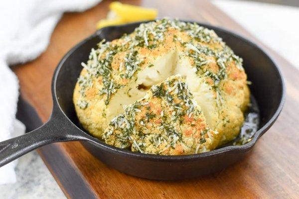 Lemon Alfredo Whole Roasted Cauliflower (Vegetarian Main Dish)