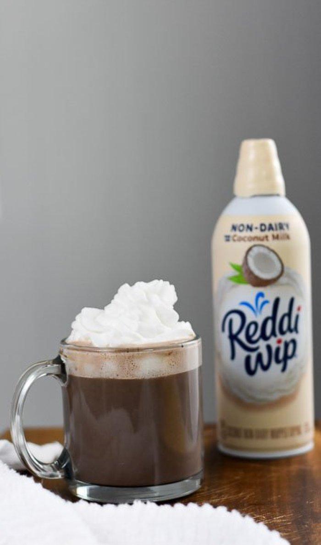 vegan hot chocolate and coconut non-dairy reddi-wip