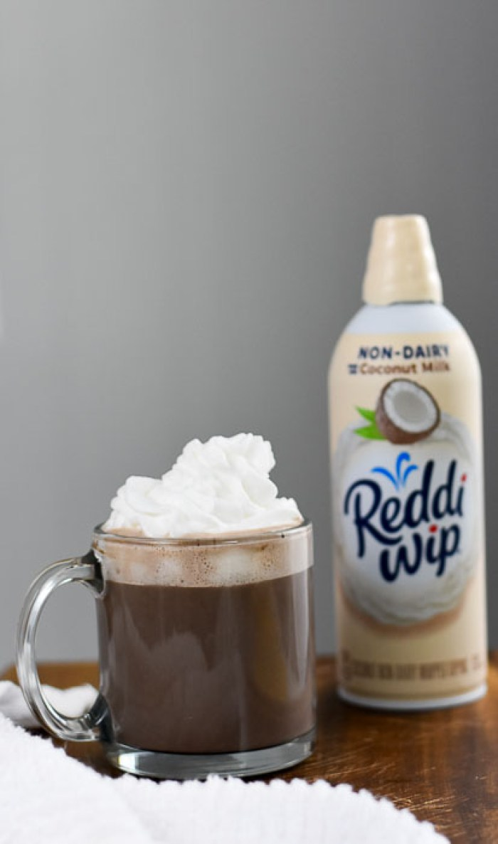 vegan hot chocolate and coconut non-dairy reddi-wip