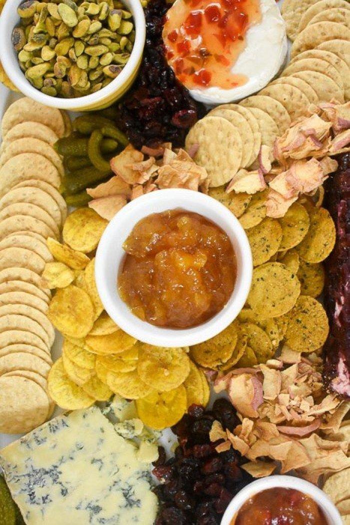 cheese board made of Trader Joe's items