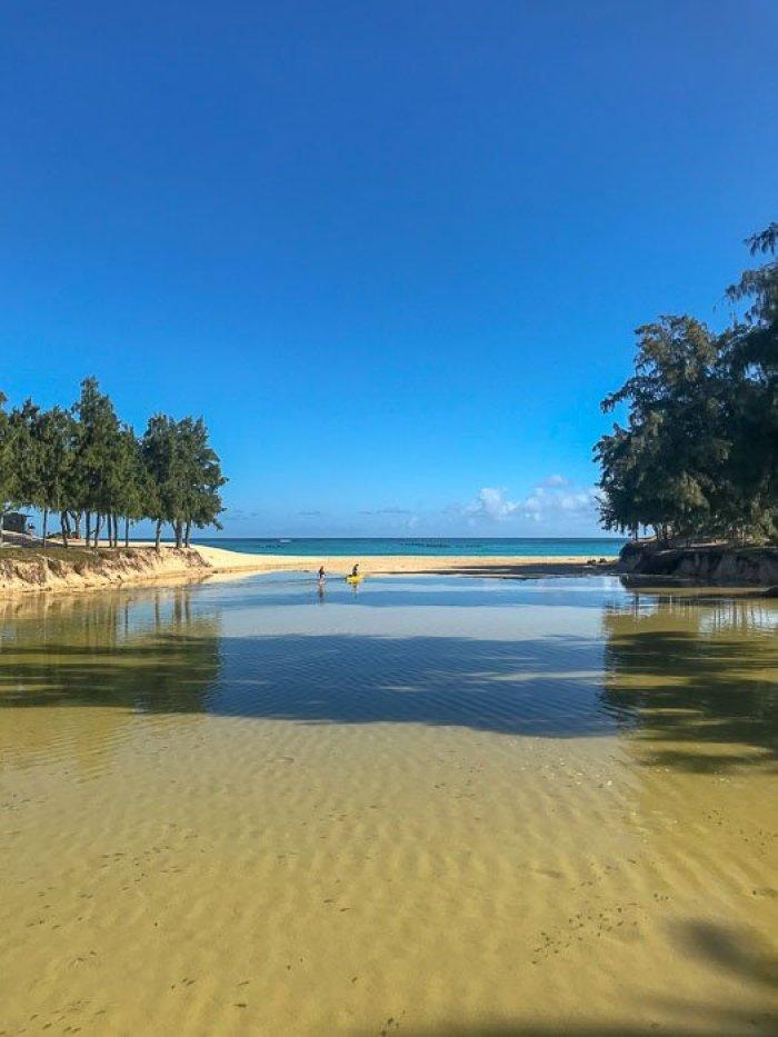 wading pond at Kailua Beach Oahu Hawaii
