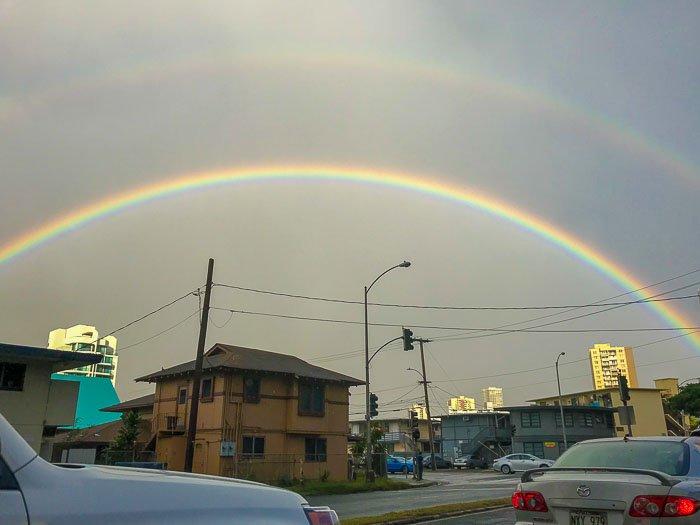 double rainbow in Honolulu Oahu Hawaii