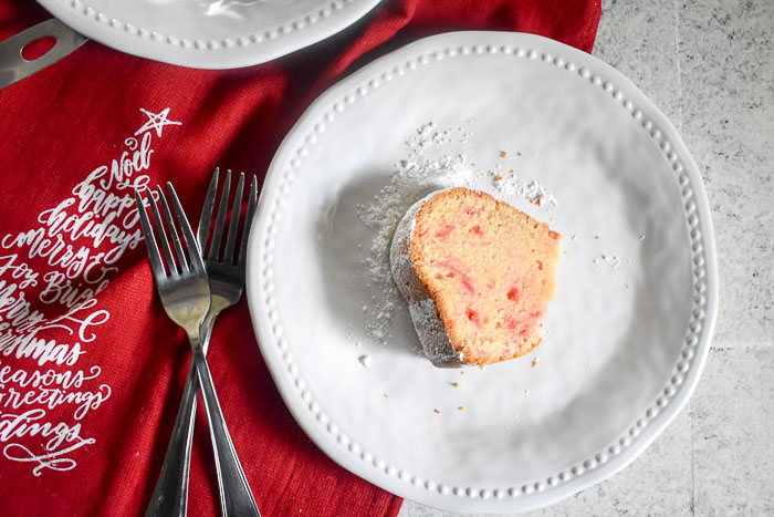 slice of vanilla peppermint pound cake