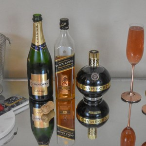 Three Lit Whiskey & Champagne Cocktail