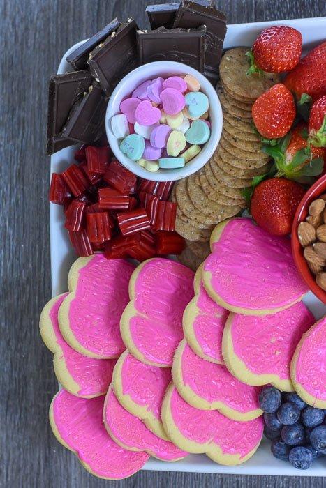 heart shaped cookies on dessert board