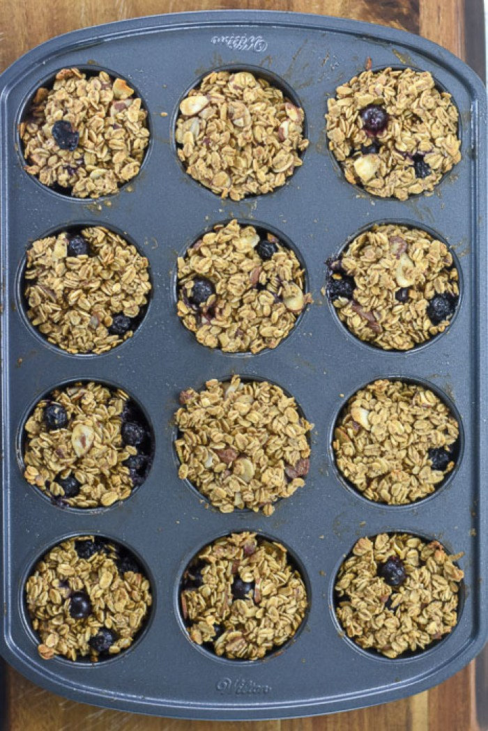 baked oatmeal breakfast muffins in muffin pan