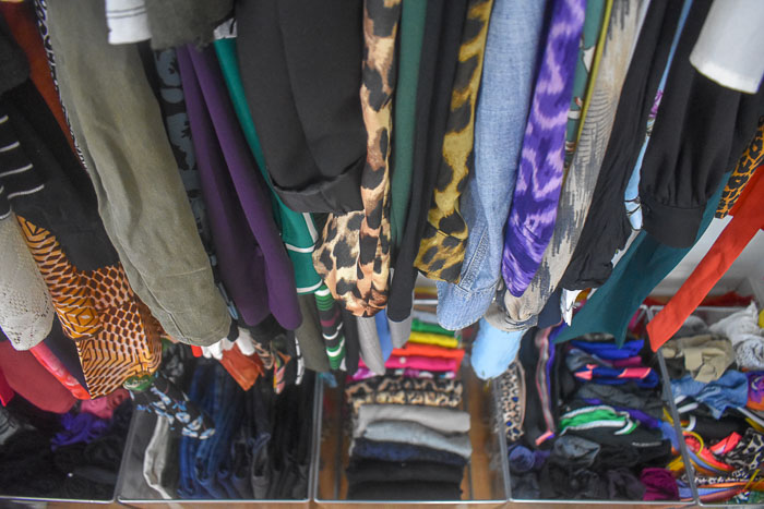 highly organized woman's closet