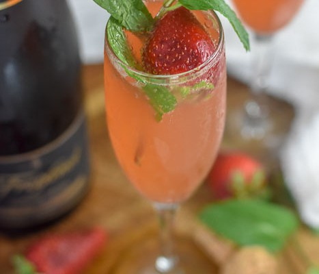Strawberry Mint Mimosas