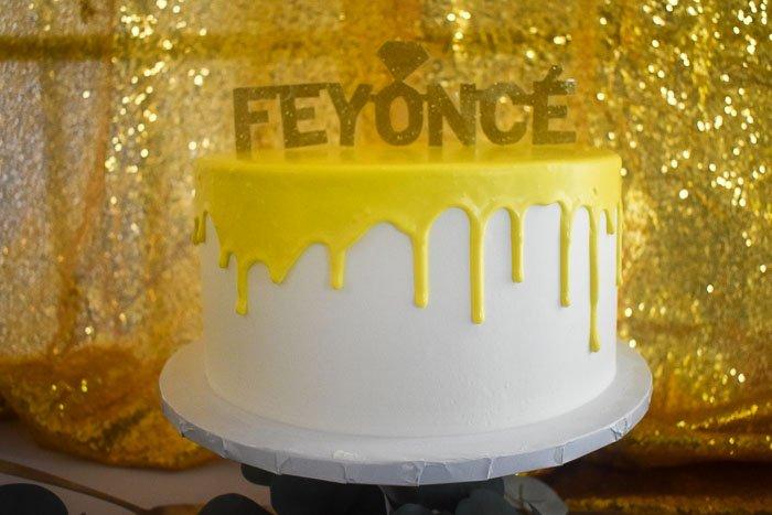gold glitter Feyonce cake topper