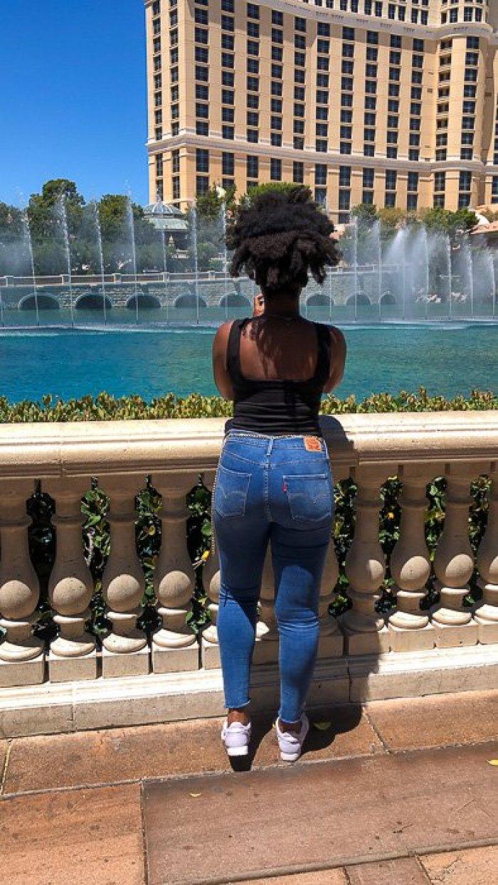 Dash of Jazz taking pictures at Bellagio Fountain Las Vegas