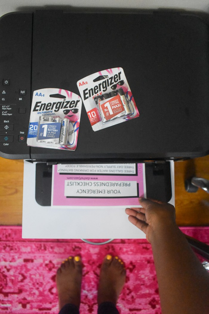grabbing emergency checklist off printer