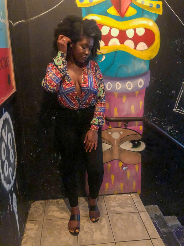Dash of Jazz in scarf print bodysuit and jeans